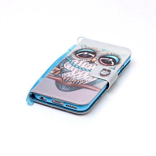 iPhone 6 Hülle,iPhone 6S Hülle,SainCat PU Leder Hülle Brieftasche im BookStyle Wallet Case Lederhülle Folio Schutzhülle Karikatur Muster Ledertasche Hülle Bumper Handytasche Skin Schale Soft Backcover Owl