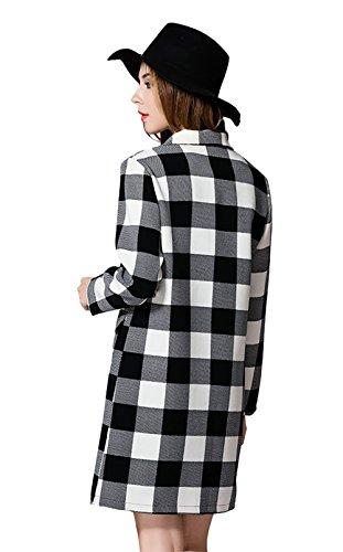 Wicky Ls Damen klassische lose P zum zweireihiger Mantel Revers Jacke Schwarz und Weiß