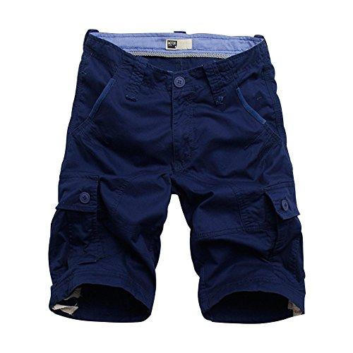 Rmine Shorts Cargo Homme Coton CasualBermudas Cargo avec Multi Poches Pantacourt Outdoor (BLEUFONCE, W38(Taille 96 CM))