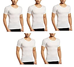 Amul Gold Menss White Half Sleeves Vest Pack of 5 Pcs (Size-100) (Full Baju Baniyan)