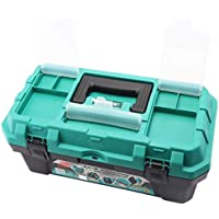 Cassetta degli attrezzi Caja de herramientas Caja de almacenamiento multifunción reforzada de doble capa de 19 pulgadas