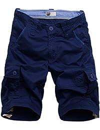Rmine Shorts Cargo Homme Coton CasualBermudas Cargo avec Multi Poches Pantacourt Outdoor