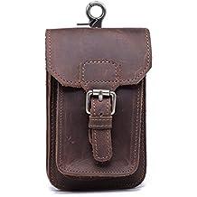 Retro hombres de la auténtica Crazy Horse piel enganche para cinturón teléfono móvil bolsa cintura bolsa tarjeta de Crédito clave pequeño cambio moneda soporte de bolsillo bolsas gjb33