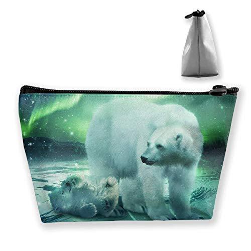 Northern Lights Polar Bear Women Cosmetic Bags Portable Pouch Trapezoidal Storage Bag Travel Bag with Zipper - Womens Polar Bear