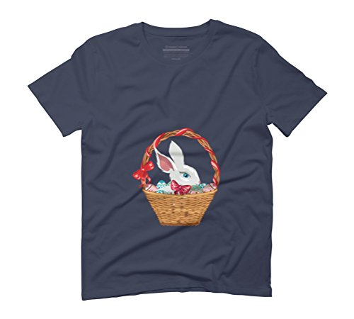 Easter bunny in basket Men's Graphic T-Shirt - Design By Humans Navy