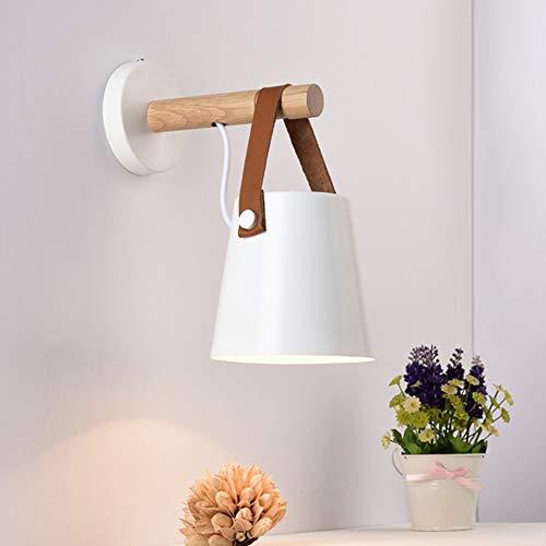 Qzny Wandampe Wand Mount Light Modern Minimalist Solid Wood Belt Wall Light Bedroom Bedroom Bedroom Korridor Holzwand Sconce,White,13 * 22 * 17.4cm -