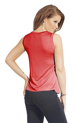 Débardeur avec col rond manches tissu jersey doux T-Shirt Femme Corail