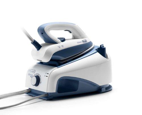De'Longhi VVX1465 Centro de planchado, 2200 W, 0.85 L, 90 g/min, 4.5 bareses, acero inoxidable, azul y blanco