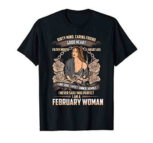 Februar Geburtstag Biker Chick Lady Dirty Sweet Sinner T-Shirt -