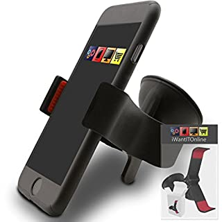 IWIO Icemobile Clima II Black SuperClaw Multi-Directional Dashboard / Windscreen, Case Compatible (Use with or without your existing case!) Clip On Suction Mount In Car Holder
