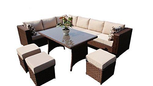Yakoe Papaver Serie Wintergarten Polyrattan 9 Sitzer Ecksofa Esstisch und Stuhl Set, Braun, 144 x 80 x 68 cm