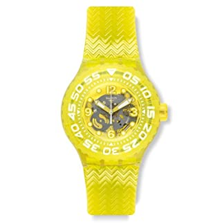 Swatch Men's & Women's 39mm Yellow Plastic Band & Case Plastic Watch SUUJ101