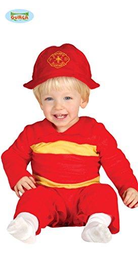 Feuerwehrmann Baby Kostüm Overall mit Helm rot Kinderfasching Feuerwehr (Feuerwehr Strampler Kostüm)