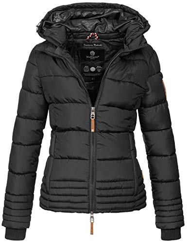 Marikoo Designer Damen Winter Jacke Steppjacke Winterjacke Stepp gesteppt B668 [B668-Sol-Schwarz-Gr.M]