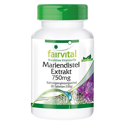 Mariendistel Extrakt 750mg - 90 vegane Tabletten - Standardisiert auf 80% Silymarin, hochdosiert mit 600mg Silymarin pro Tablette