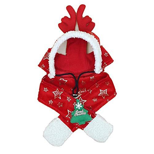 Fliyeong 1x Weihnachten Haustier Schal Hut süße Katzen Hunde Hut Schal Set Rentier Anzug rote Kostüme Anzug verkleiden Sich Weihnachten Tag Ornamente Haustier Accessoires XXL langlebig und praktisch