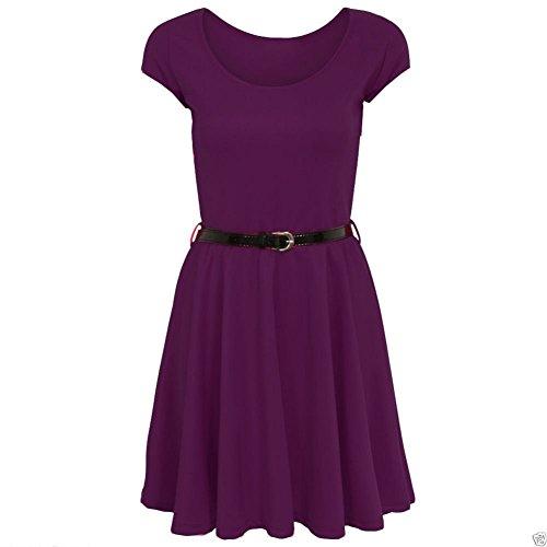 Mesdames Flared Frankie Belted Cap Skater Sleeve Dress EUR Taille 36-54 Violet