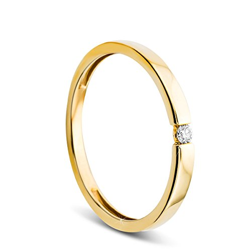 Orovi Damen Verlobungsring Gold Solitärring Diamantring 9 Karat (375) Brillianten 0.03crt GelbGold Ring mit Diamanten - 9 Diamant-ring-größe