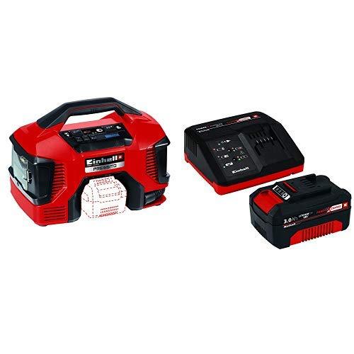 Einhell 4020460 Compressore Ibrido Power X-Change Pressito, 90 W, 18 V, Rosso, Nero, Senza Batteria e Caricabatteria + Starter Kit Batteria e Caricabatterie Power X-Ch