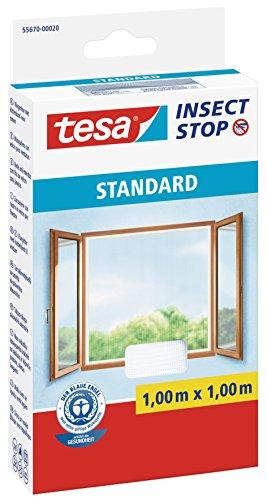tesa Insect Stop STANDARD Fliegengitter für Fenster - Zuschneidbares Moskitonetz - Mückenschutz ohne Bohren - Fliegen Netz weiß, 100 cm x 100 cm