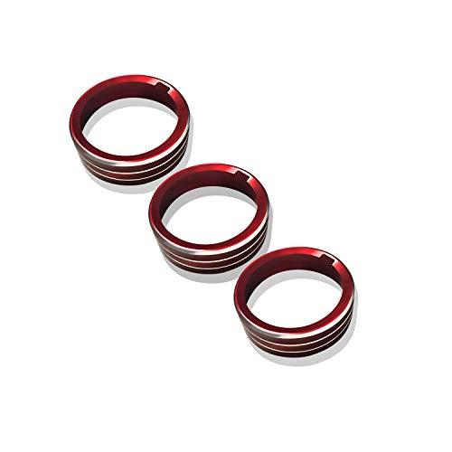 [3 Stücke] LFOTPP T-ROC Aluminium-Legierung Klimaanlage Knopf-Abdeckung Auto Innendekoration Schalter Ring Taste Trim Rot