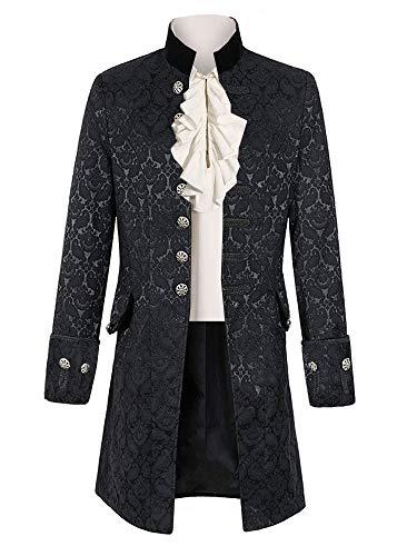 Pxmoda Herren Frack Mantel Steampunk Gothic Jacke Vintage Viktorianischen Cosplay Kostüm Smoking Jacke Uniform Mittelalter Kleidung Weste Jacke Waistcoat - Herren Gothic Kostüm