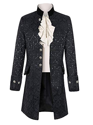 Pxmoda Herren Frack Mantel Steampunk Gothic Jacke
