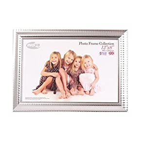 Inov8 British Made Traditional Picture/Photo Frame, 12x8-inch, Ripple Silver