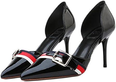 Zapatos De Tacón Alto De Moda De Mujer Negro Zapatos De Salón De Boda Atractivo,Black-8cm-EU:38/UK:5.5