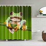 YHNZ Duschvorhänge Frosch Muster Wasserdicht Schnell Trocknen Umweltschutz Materialien Metall Hängende Loch Haken (Größe: 180 * 200 cm)