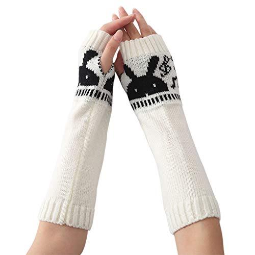 JOYKK Damen Handschuhe Bunny Pattern Armwärmer Knit Fingerlose Lange Handschuhe Half Finger Winter - Weiß (Weißes Kaninchen Kostüm Muster)