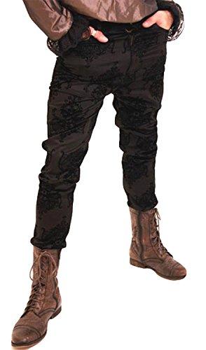 Phaze - Golden Steampunk Jean Hose Schwarz beflockt Kiara Unisex Hohe Taille Elegantes Gothic Gr. X-Small, schwarz