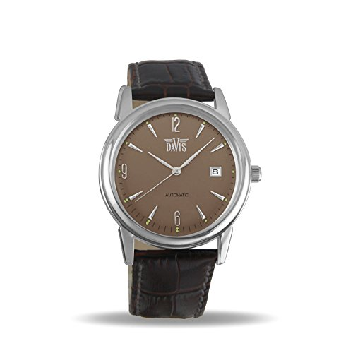 Davis 1901 - Mens Automatic Watch Retro Grey Dial Date Brown Leather Strap