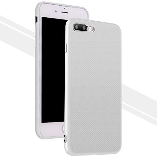 Daorier Étui en Silicone TPU Coque pour iPhone 7 Plus 5,5 Ultra Fine Doux Coque Housse en Silicone Cover Case Housse Anti Scratch Léger Téléphone Boîte Blanc Weiß