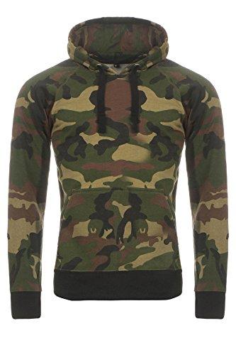 Herren Woodland Camouflage Camo (Happy Clothing Herren Camouflage Pullover, Kapuzenpullover im Camo-Design, Größe:XL, Farbe:Grün)