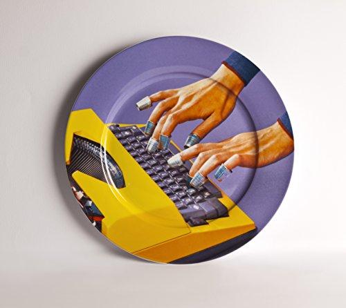 SELETTI 'Assiette en Porcelaine Toiletpaper Ø cm.27 – Machine à écrire