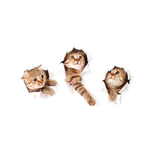 WINOMO Katze Wandaufkleber 3D Katze Wand abnehmbare Wandsticker Toiletten Wandtattoo DIY Hausdekoration