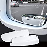 RAISSER® 2pcs 360 Degree Adjustable Glass Frameless Car Rearview Rear View Mirror Reversing Wide Angle Auxiliary Blind Spot Mirror