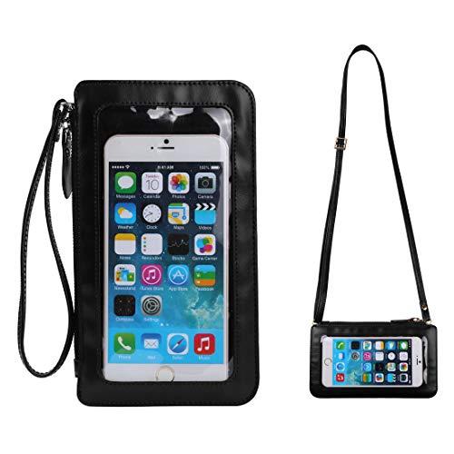 Damen Clutch mit Touchscreen und Geldbörse für Handy, Handgelenk, kompatibel mit iPhone XS Max / 8 Plus / 7 Plus / 6S Plus / 6 Plus, iPhone XS/XR/X / 8/7/6S, S, schwarz