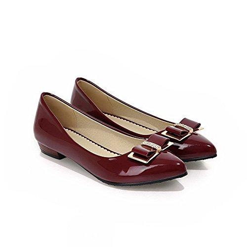 VogueZone009 Femme à Talon Bas Couleur Unie Tire Verni Pointu Chaussures Légeres Rouge Vineux