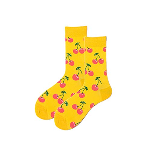 Crew Socken, Kleidersocken Packung, Brand Quality Hot Fashion Men's Combed Cotton Wedding Socks Casual Business Crew Sock Colorful Happy Socks Fruit Pattern Novelty Yellow cherries Uniform size