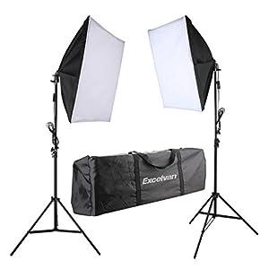 Excelvan 700W Luci da Studio Fotografico Continuo Kit di Illuminazione per Fotocamere a Luce Liscia Softbox 24