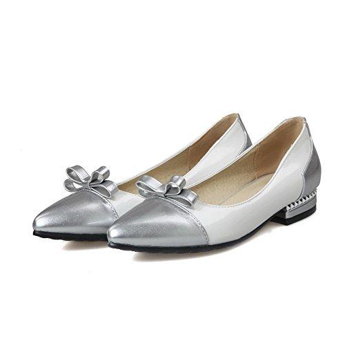 AllhqFashion Damen Ziehen Auf Pu Leder Gemischte Farbe Spitz Zehe Pumps Schuhe Weiß