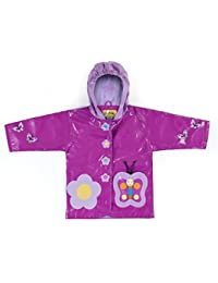 Kidorable Purple Butterfly PU All-Weather Raincoat for Girls with Fun Flowers and Butterflies