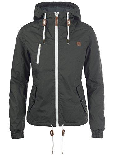 (DESIRES Tilda Damen Übergangsjacke Jacke gefüttert mit Kapuze, Größe:S, Farbe:Dark Grey (2890))