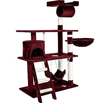 TecTake Arbre á chat géant grattoir griffoir et centre d'activités 141cm - diverses couleurs au choix - (Bordeaux | No. 401856)