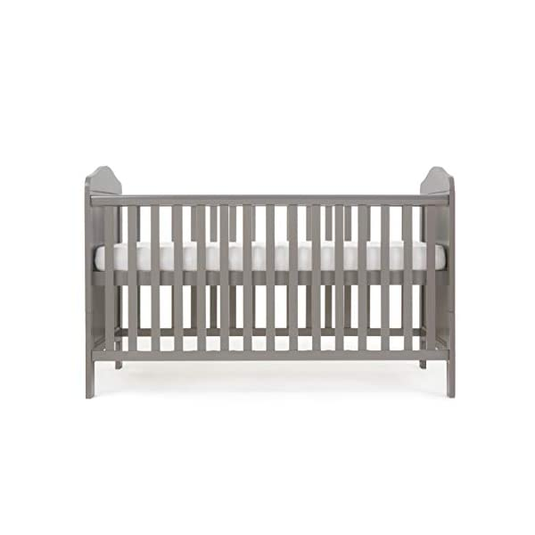 Obaby Whitby Cot Bed, Taupe Grey Obaby Adjustable 3 position mattress height Bed ends split to transforms into toddler bed Protective teething rails along both side rails 3