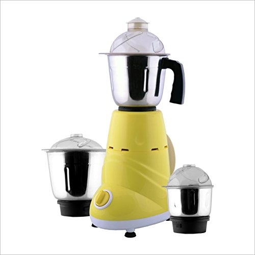 ANJALIMIX Mixer Grinder ZOBO 600 WATTS With 3 Jars (Yellow & White), DRY, WET, CHUTNEY  available at amazon for Rs.1899