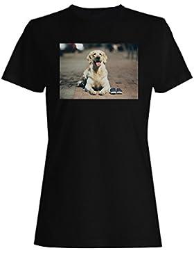 Arte lindo de la calle de la amapola del perro nuevo camiseta de las mujeres b475f