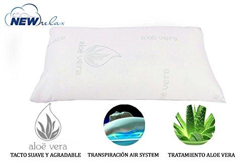 Almohada viscoelástica copos 150 cm - Tejido Aloe Vera con hilo de plata y doble funda + ESTUCHE DE VIAJE.